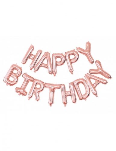Palloncino di alluminio Happy Birthday oro rosa