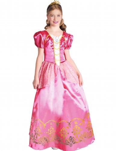 Costume principessa rosa dettagli oro bambina