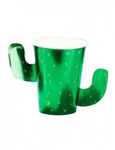 8 bicchieri in cartone cactus verdi