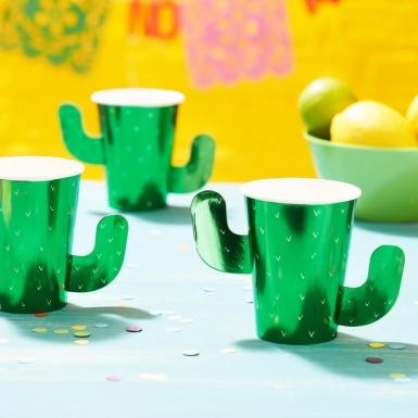 8 bicchieri in cartone cactus verdi -1