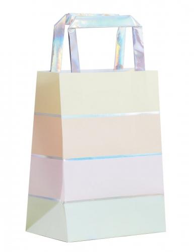 5 sacchetti regalo in carta righe pastello