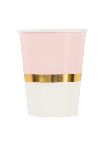8 bicchieri bianchi e rosa con riga dorata