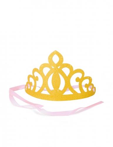 6 coroncine in cartone oro con nastro rosa
