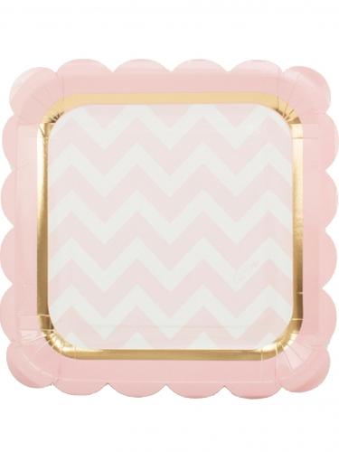 8 piatti quadrati bianchi e rosa con riga dorata 23 cm