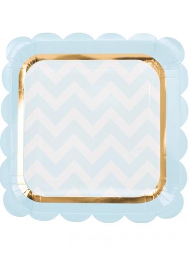 8 piatti quadrati celesti e bianchi
