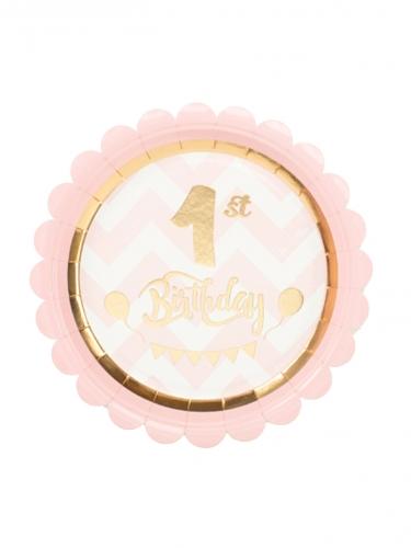 8 piattini 1st Birthday bianchi e rosa 18 cm