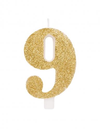 Candelina dorata e brillantini numero-9