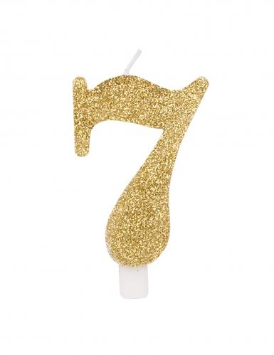 Candelina dorata e brillantini numero-7