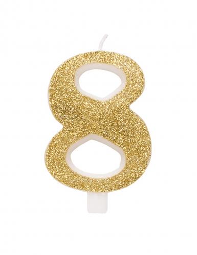 Candelina dorata e brillantini numero-8