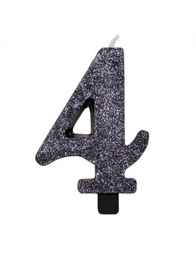 Candelina color nero con brillantini numero-4