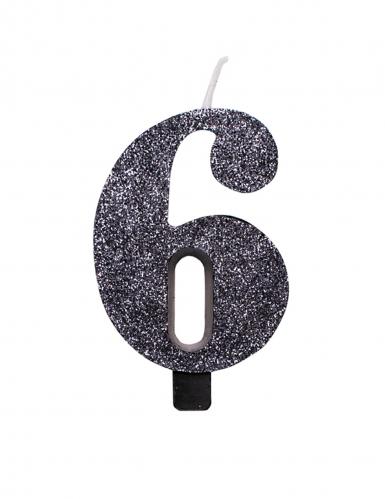 Candelina color nero con brillantini numero-6