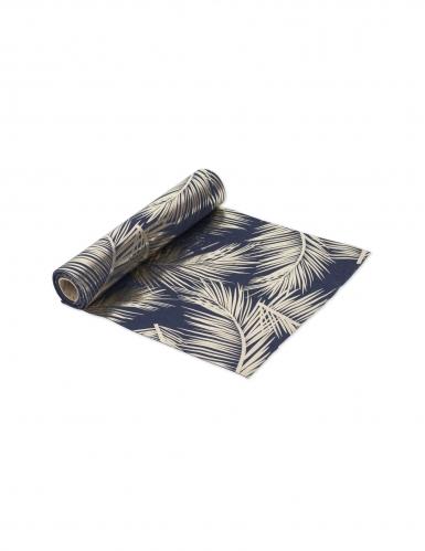 Runner da tavola in lino blu con foglie oro
