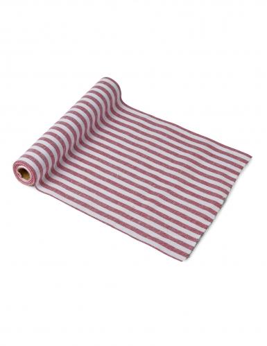 Runner da tavola in cotone a righe rosse e bianche