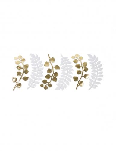 6 decorazioni foglie e eucalipto bianco e oro