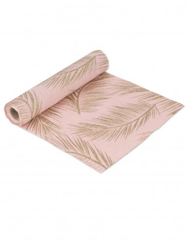 Runner da tavola in lino rosa con foglie oro