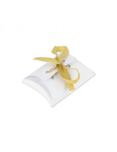 10 mini scatole bianche con nastrino oro
