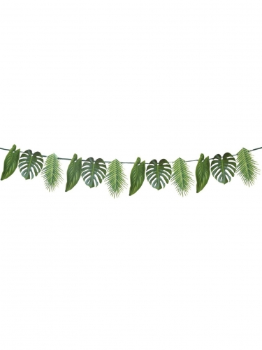 Ghirlanda in cartone con foglie tropicali verdi-1