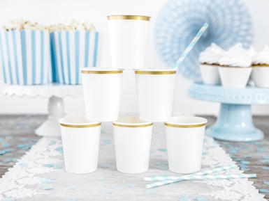 6 bicchieri in cartone bianchi con bordino oro -2