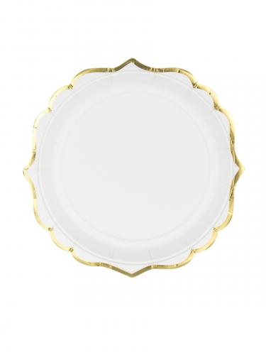 6 piattini in cartone bianchi con bordino oro 18 cm
