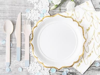 6 piattini in cartone bianchi con bordino oro 18 cm-1