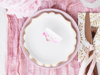 6 piattini in cartone bianchi con bordino oro 18 cm-2