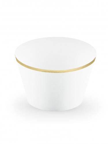 6 pirottini per cupcakes bianchi e oro