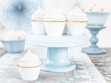 6 pirottini per cupcakes bianchi e oro-1