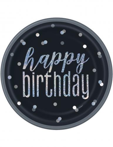 8 piatti in cartone Happy Birthday pois grigi 23 cm