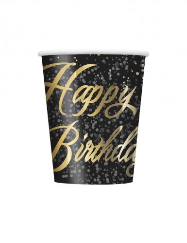 8 bicchieri in cartone Happy Birthday coriandoli oro