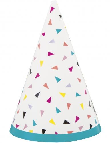 8 cappellini Happy Birthday triangoli