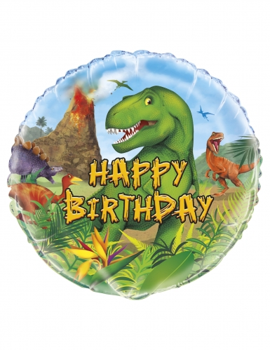 Palloncino alluminio rotondo Happy Birthday dinosauri