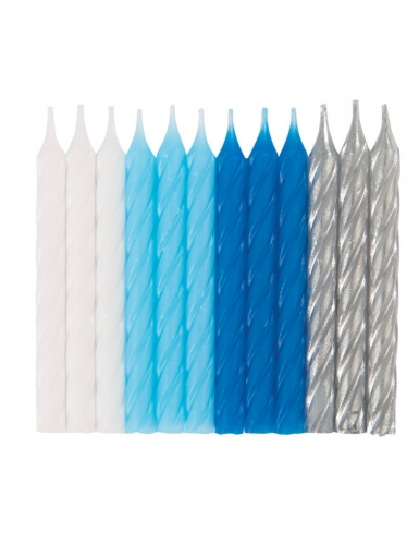 24 candeline blu bianche e argento