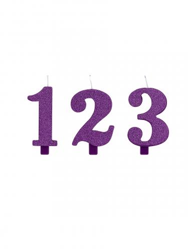 Candelina numeri viola a paillettes