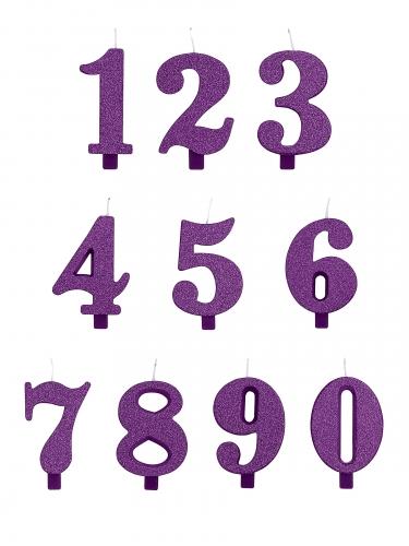 Candelina numeri viola a paillettes-1