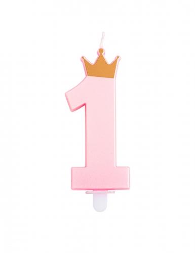 Candelina numero 1 rosa con corona
