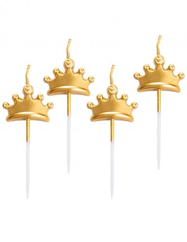 5 Candeline corone dorate metallizzate