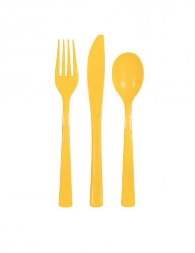 18 posate di plastica gialla