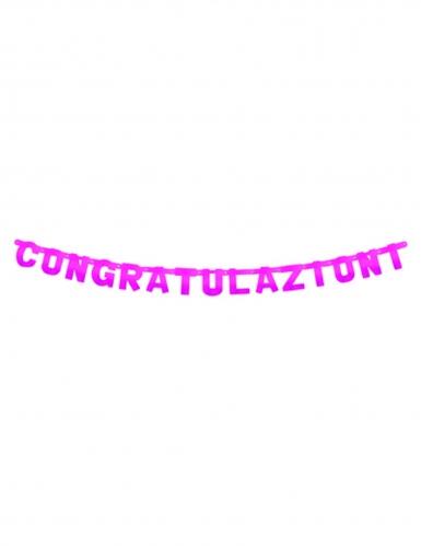 Ghirlanda in cartone Congratulazioni fucsia