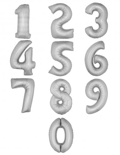 Palloncino alluminio argento numero 1 metro-1
