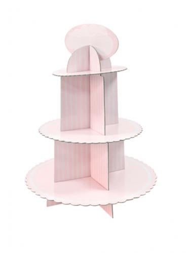 Alzatina in cartone per cupcakes rosa e bianca