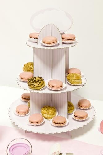 Alzatina in cartone per cupcakes rosa e bianca-1