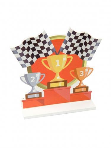 Centrotavola in legno podio corsa automobilistica