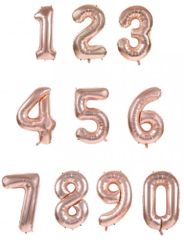 Palloncino alluminio numero color oro rosa-1
