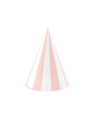 6 cappellini in cartone rosa e bianchi