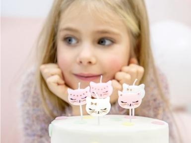 6 Candeline di compleanno gattini rosa e bianchi-1