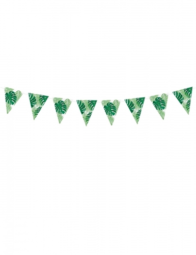 Ghirlanda di bandierine foglie tropicali verdi-1