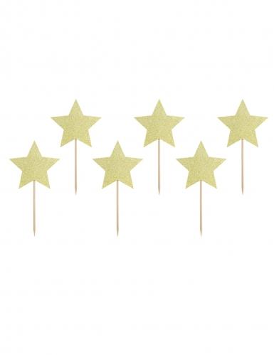 6 decorazioni per torta stelle oro con brillantini