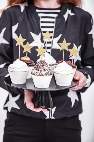 6 decorazioni per torta stelle oro con brillantini-1