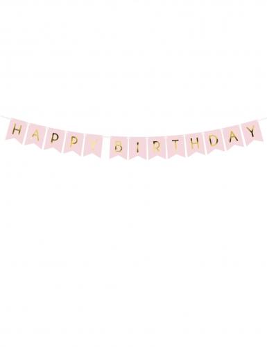 Ghirlanda rosa Happy Birthday oro