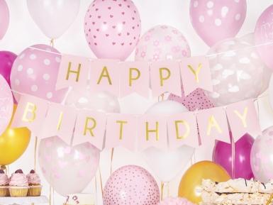 Ghirlanda rosa Happy Birthday oro-1